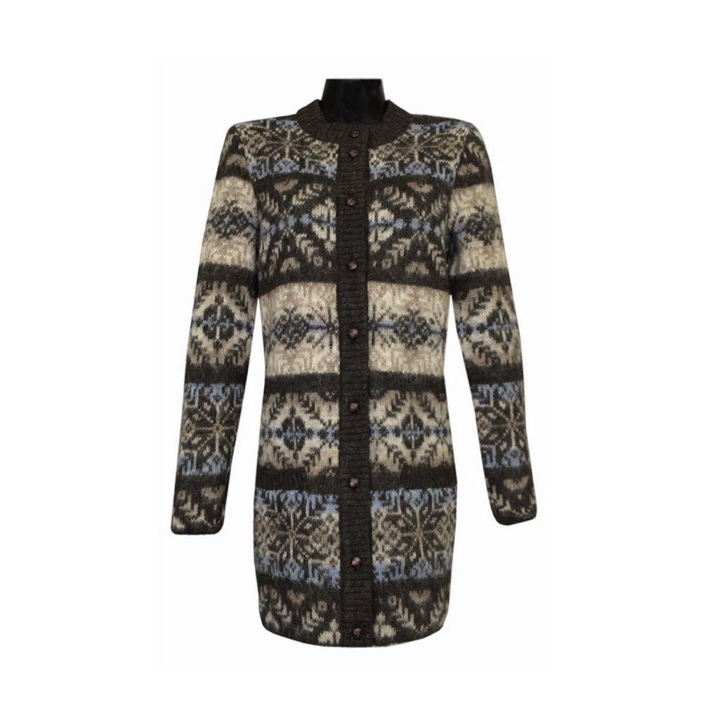 Icelandic Wool Ladies Button Cardigan (Brown / Grey) by Freyja