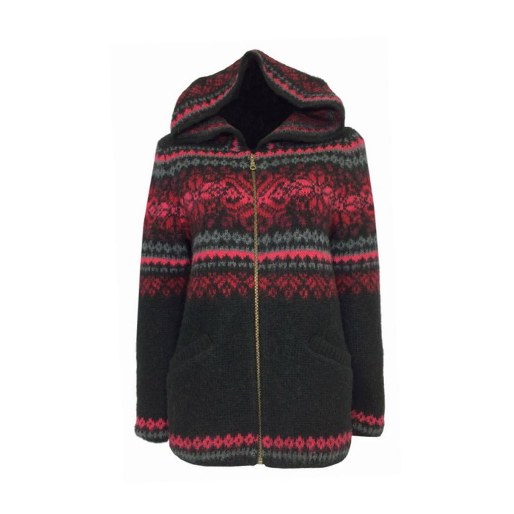 Icelandic Wool Ladies Zippered Cardigan / Hood (Black / Red) by Freyja