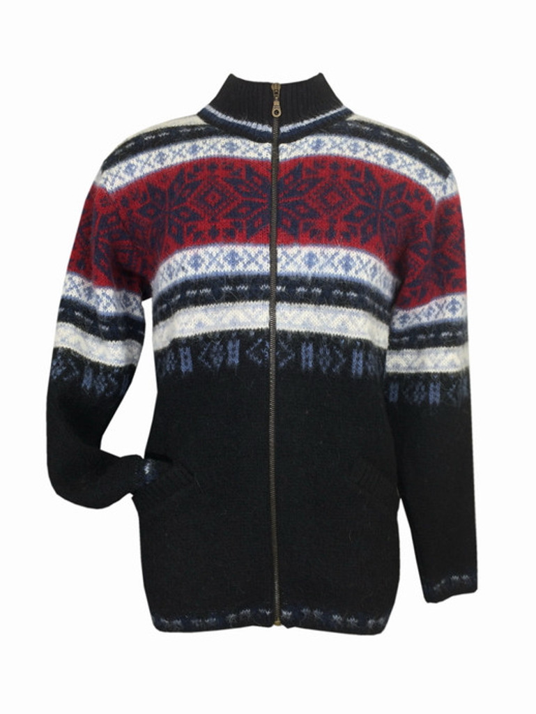 Icelandic Wool Men's Zippered Turtleneck Cardigan (Blue / Red) by Freyja