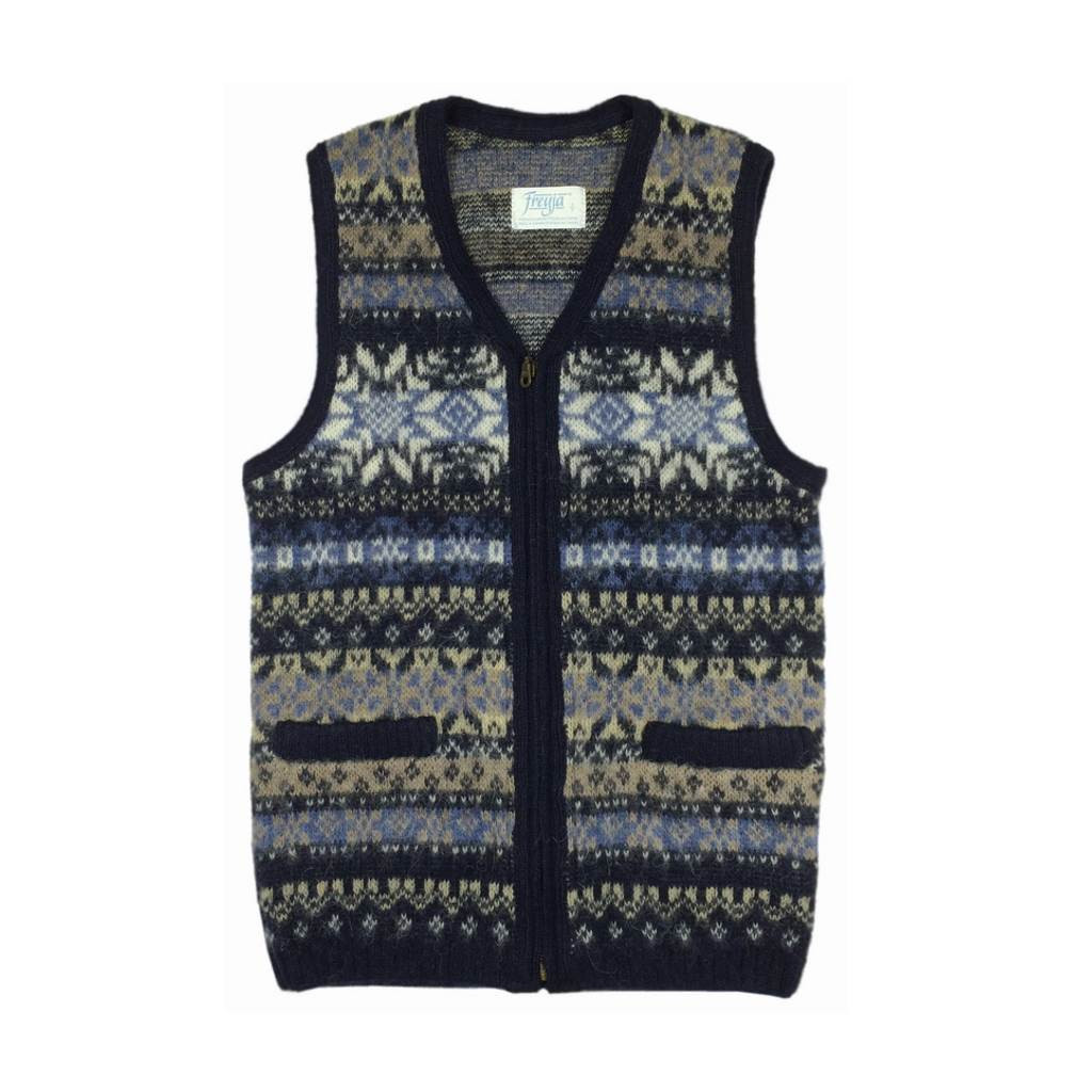 Icelandic Wool Men's Zippered Vest (Blue / Cream) by Freyja