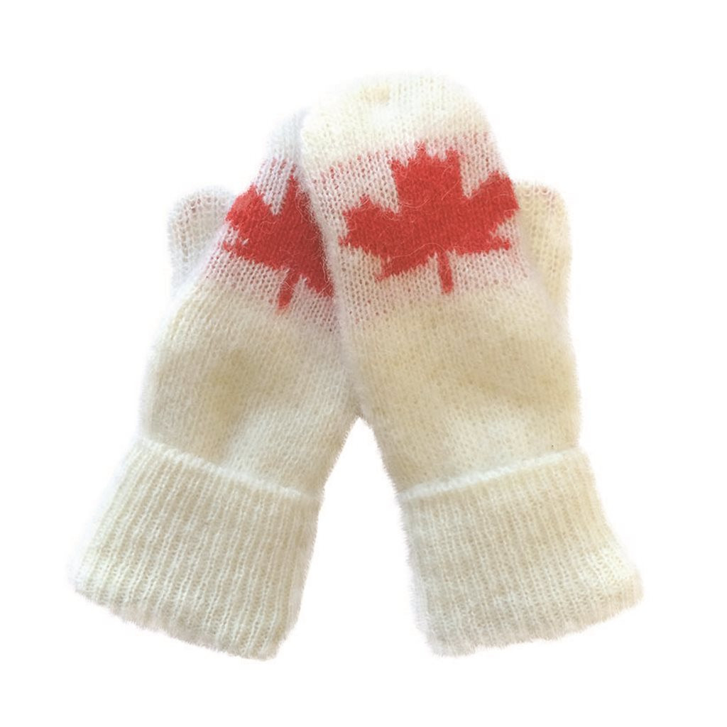 Icelandic Wool Unisex Maple Leaf Mittens (Cream / Red) by Freyja