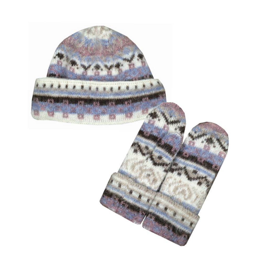 Icelandic Wool Ladies Double-Cuff Hat / Mitten Set (Blue / Mauve) by Freyja