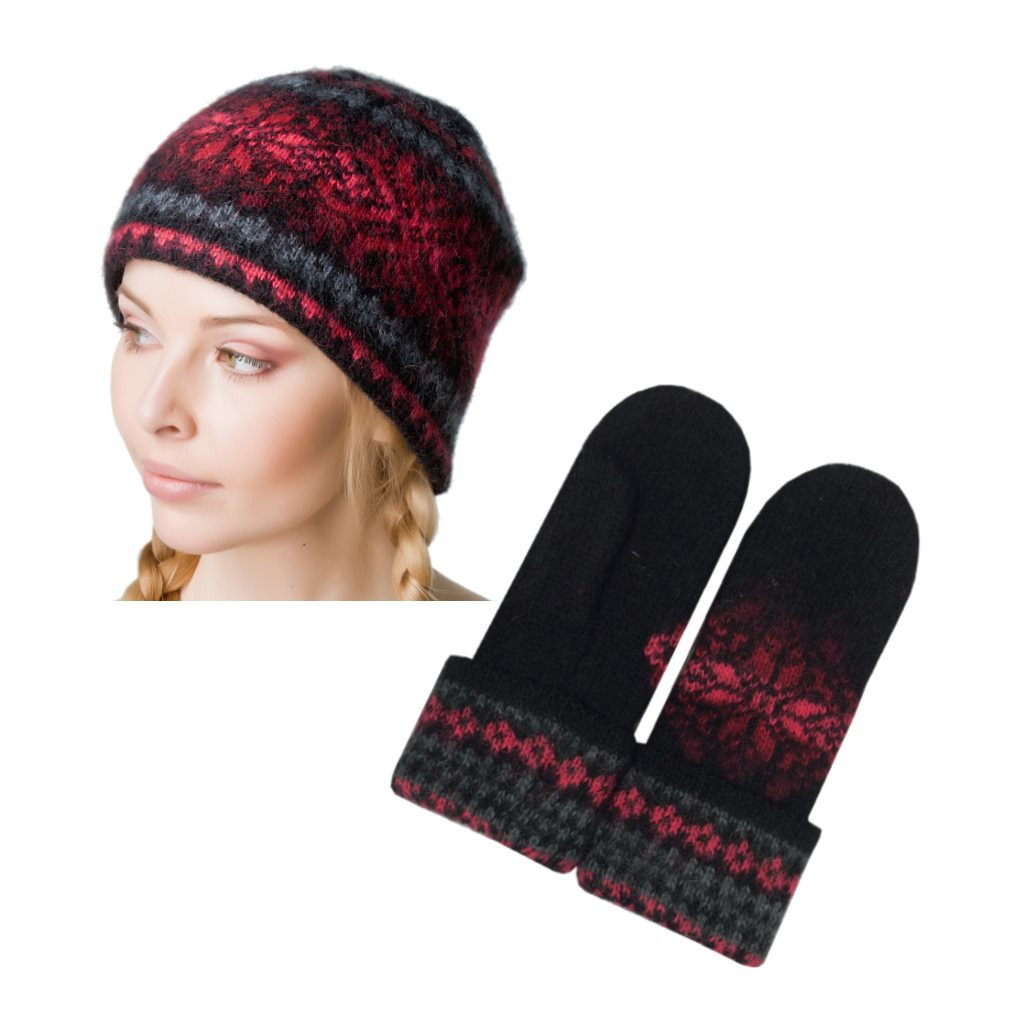 Icelandic Wool Ladies Toque / Mitten Set (Black / Red) by Freyja