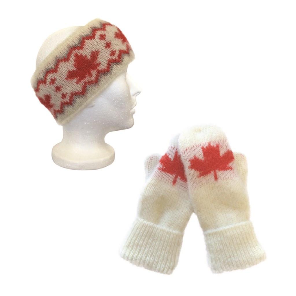 Icelandic Wool Unisex Maple Leaf Headband / Mittens Set (Cream / Red) by Freyja