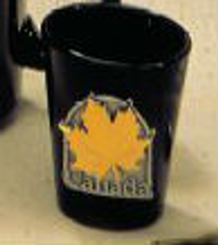 Canada True Canada Shot Glass - Black w/ Pewter & Gold Medallion