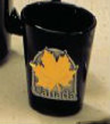 Canada True Canada Shot Glass - Black w/ Pewter & Gold Medallion