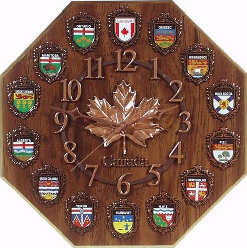 AFG Wall Clock - Maple Leaf & Provincial Shields