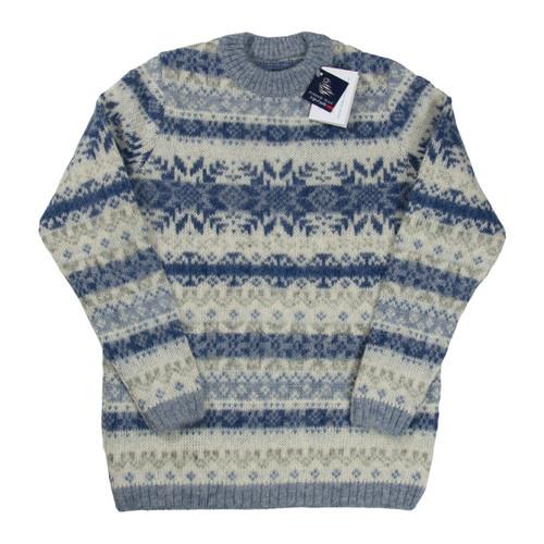 Icelandic Wool Ladies Crew Neck Pullover (Denim / Light Grey) by Freyja