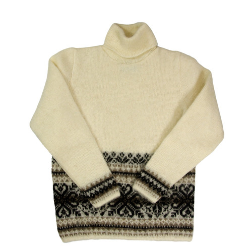 Icelandic Wool Ladies Turtleneck Sweater (Cream / Brown) by Freyja