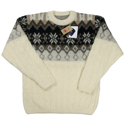 Icelandic Wool Men's Crew Neck Pullover (Off-White / Black) by Freyja