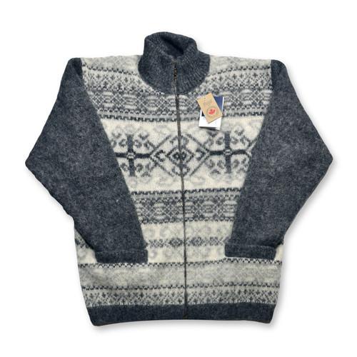 Icelandic Wool Men's Zipper Turtleneck Cardigan (Dark Grey / Off-White) by Freyja