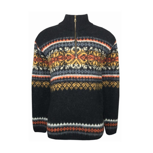 Icelandic Wool Men's Zipper Turtleneck Pullover (Black) by Freyja