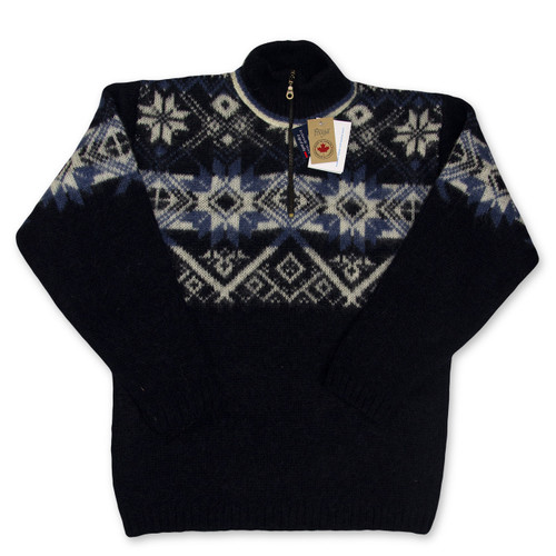 Icelandic Wool Men's Zipper Turtleneck Pullover (Navy) by Freyja