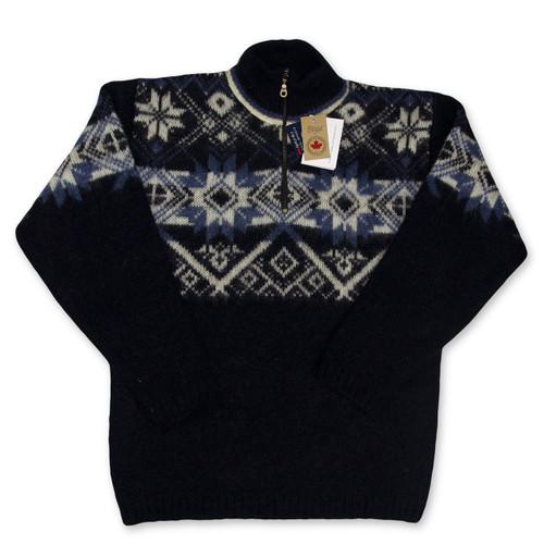 Icelandic Wool Men's Zipper Turtleneck Pullover (Navy) by Freyja