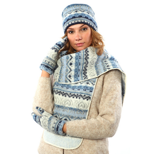 Pillbox Hat / Mitten / Scarf Set (Denim / Grey) by Freyja