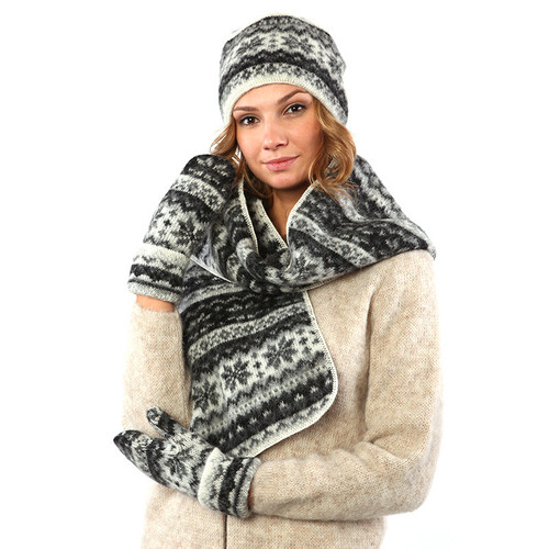 Pillbox Hat / Mitten / Scarf Set (Black / Grey) by Freyja