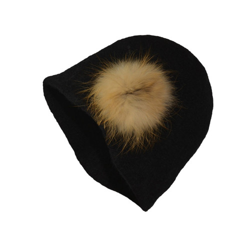 Black Fur Cloche by Julie Sinden Handmade - Ships in Canada Only