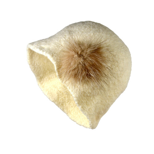 Ivory Fur Cloche by Julie Sinden Handmade - Ships in Canada Only