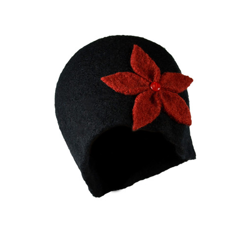 Black with Red Flower Cloche by Julie Sinden Handmade - Ships in Canada Only