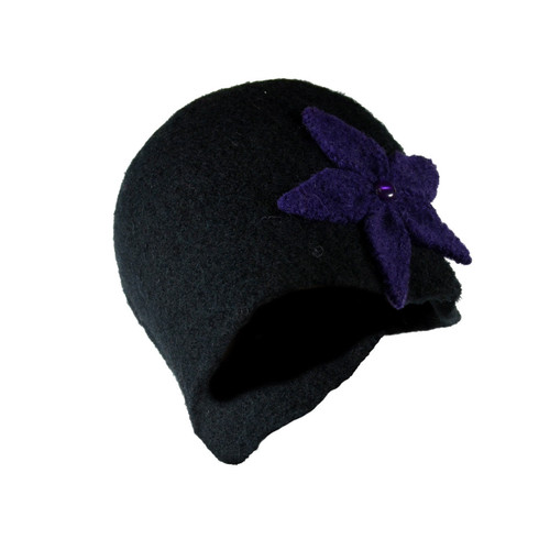 Black with Purple Flower Cloche by Julie Sinden Handmade - Ships in Canada Only