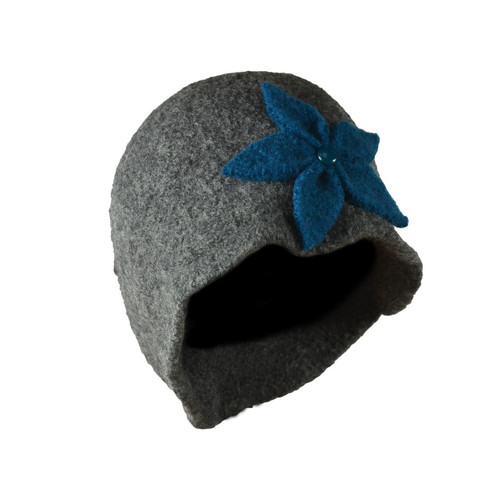 Charcoal Grey Teal Flower Cloche by Julie Sinden Handmade - Ships in Canada Only