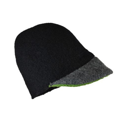 Black with Kelly Green Brim Cloche by Julie Sinden Handmade - Ships in Canada Only