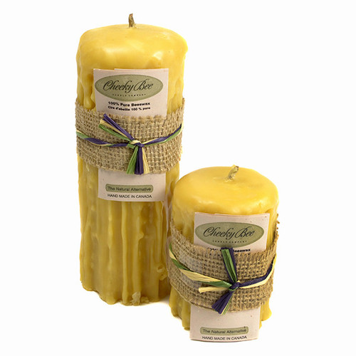 Beeswax Dripped Pillar Candles (Pure Gold) by Cheeky Bee