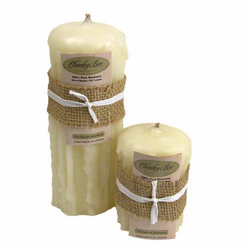 Beeswax Dripped Pillar Candles (Ivory) by Cheeky Bee