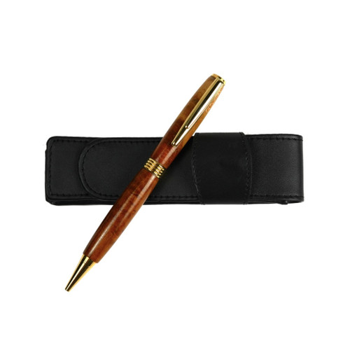 Curly Makore Wood Flat Top Streamline Pen by Century Cottage Pens