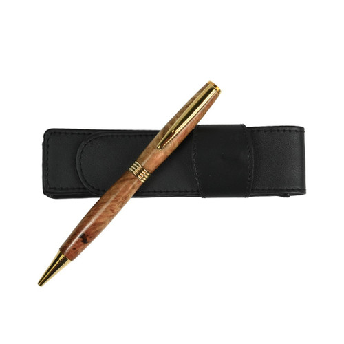 Spalted Myrtle Wood Flat Top Streamline Pen (Dark) by Century Cottage Pens