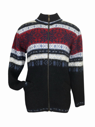 Icelandic Wool Men's Zippered Turtleneck Cardigan (Blue / Red) by Freyja