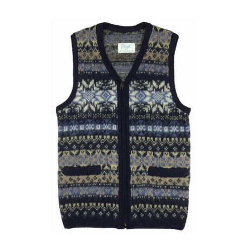 Icelandic Wool Men's Zippered Vest (Blue / Cream) by Freyja