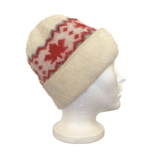 Icelandic Wool Unisex Maple Leaf Double-Cuff Toque (Cream / Red) by Freyja