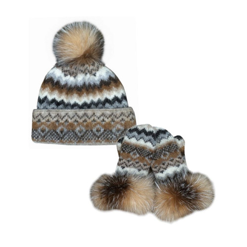 Icelandic Wool Ladies PomPom Toque / Mitten Set (Caramel / Black) by Freyja