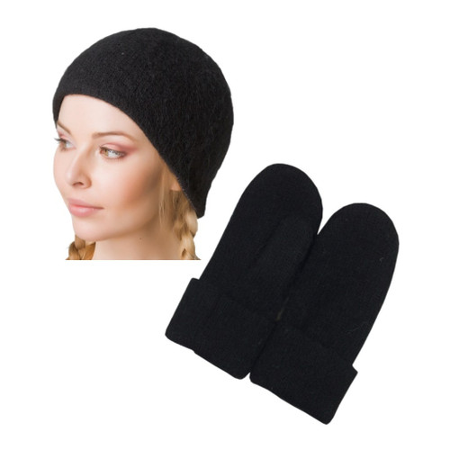 Icelandic Wool Ladies Toque / Mitten Set (Black) by Freyja