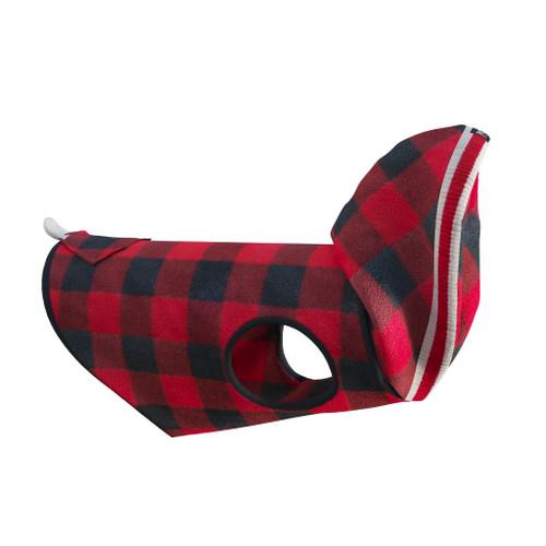 Fleece Dog Coat (Red Plaid Hoodie) by Pook