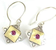 A Square X2 with Garnet Earring
