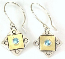 A Square X2 with Blue Topaz Earring