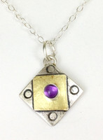 "A Square X2 Amethyst Necklace with ""Protect this Woman"""