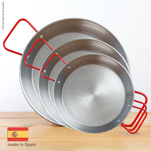Paella Pan polished steel in all sizes 4-25 serves