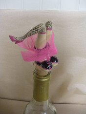 Wine Bottle Topper. Pink with Black Lace Stockings. Legs do not move.