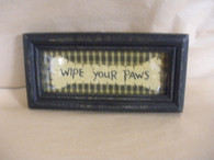 Wipe Your Paws ~ Framed Cross Stitched ~ Glass Front