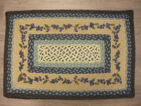 """20"""" x 30"""" Braided Rectangle Rug with Painted Blueberries"""