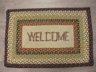 "20"" x 30"" Jute Braided Rug with Welcome painted on"
