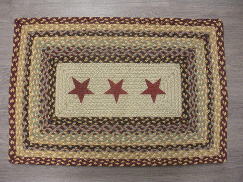 """20"""" x 30"""" Jute Braided Rug with Burgundy Painted Stars PP-357"""