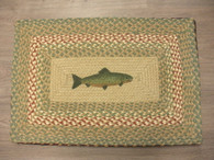"20"" x 30"" Jute Braided Rug with painted Fish PP-09"