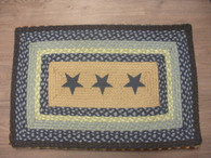 "20"" x 30"" Jute Braided Rug with painted Blue Stars"