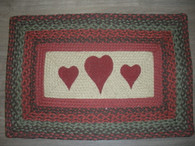 "20"" x 30"" Jute Braided Rug with painted Hearts"