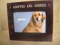 Wood Frame. Holds a 4x6 picture. Adopted and Adored.