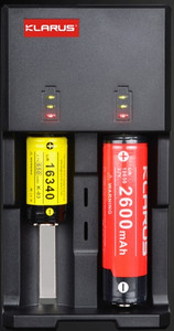 Battery charger for rechargeable flashlight battery. Capable of charging 2 batteries at a time.